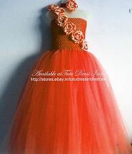 ORANGE TUTU DRESS REAL PICTURE FOR GIRL INFANTS - BIRTHDAY, PARTY, FREE BAND