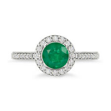 925 Sterling Silver Round Shape Amazing Emerald Halo Ring For Woman's