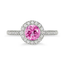 Round Shape Amazing Pink Amethyst 925 Sterling Silver Halo Ring  For Daily Wear