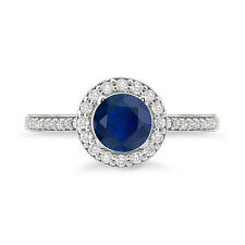 925 Sterling Silver Round Shape Amazing Blue Sapphire Halo Ring For Woman's