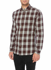 Branded Men's Brushed Cotton Checkered Shirt Slim fit Color Red, Navy Size M, L