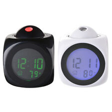 NEW Digital LCD LED Alarm Voice Talking Clock Temperature Projector Black White