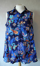 NEW - BHS - size 14 - COTTON navy/blue /orange print ladies TOP/TUNIC - BNWoT