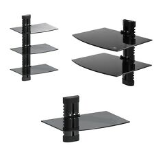 1-Tier 2-Tier 3-Tier Wall Floating Glass Shelf Support DVD Console PS3 Xbox