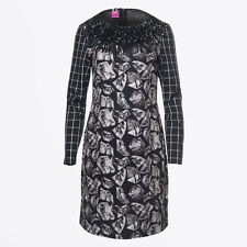 SAVE THE QUEEN BLACK GREY FRINGED PRINT DRESS M,L