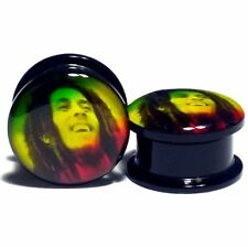 Acrylic Ear Plug Screw Fit Ear Gauges Flesh Tunnels - Bob Marley