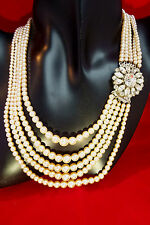 Gorgeous 30s/40s  Vintage 5 Strand Graduated  Pearls with Diamante Clasp