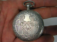 Beautiful Antique Engraved Solid Silver French Made LIP Men pocket watch chain