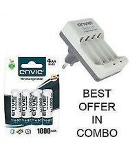 ENVIE 4pcs 1000mAh Ni-MH Rechargeable AA Battery and ECR-20 charger combo