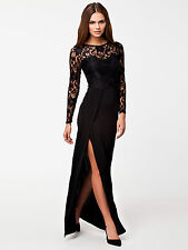 Ladies Lace Sexy Long Maxi Fashion Evening Party Bodycon Dress Size 14 16