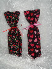Wine Bottle Gift Bags Fabric-Holiday Valentines Engagement Wedding Love Heart
