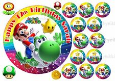 Edible Super Mario Yoshi Rainbow Cake Cupcake Toppers Personalised & Rice Paper