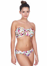NEW Freya Coral Bay Underwired Frilled Bandeau Bikini Top ONLY Sunset print