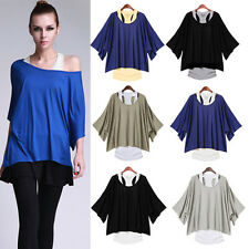 1 Set Damen 2 in 1 Longshirt Tunika Bluse Top Kleid Japan Style Poncho T-Shirt