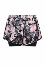 New Womens Elle Sports Fortitude Printed Performance Double Layer Running Shorts