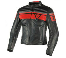 Chaqueta de cuero Dainese Blackjack black rojo humo moto leather jacket vintage