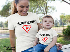 Super Mummy Super Baby Hero Woman Star Mother Daughter Son Mum Matching T shirt