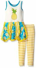 JELLY THE PUG Girls 2T 3T Yellow Pineapple Stripe Knit Dress Legging Set Outfit