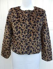 NEW WT Faux Fur Leopard Print Jacket Dark Caramel SIZES 12 & 14