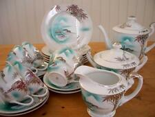 Retro Japanese China Tea Set - 6 Cups/Scs, 6 Plates, Milk, Sugar, Tea/Coffee Pot