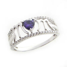 Mom Ring With Amethyst Heart Shape Stone In 925 Sterling Silver By Silver Dew