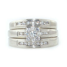 Silver Dew 925 Sterling Silver Trio Ring set in Rhodium Plated For Wedding