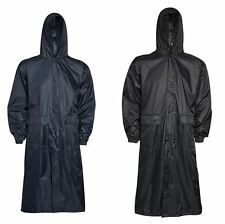 Mens Plain Mac Long Coat Raincoat Hooded Waterproof Lightweight Jacket UK S-XXL