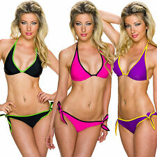 DONNA BIKINI SET triangolo top Mini mutandine BICOLORE LACCIO al collo