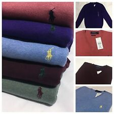 Polo Ralph Lauren Men's  V-Neck Jumpers Pima Cotton Long Sleeve Sweaters