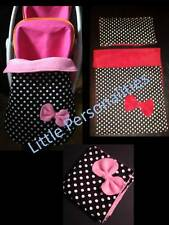 black white dot doll pram cot blanket pillow stayput blanket changing bag or mat