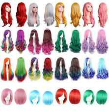 Fashion Cosplay Full Straight Wig Long Wavy Hairpiece Gradient Wig Short Hair UK