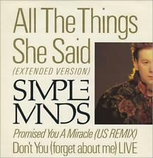 "Simple Minds All The Things She Said 12"" vinyl single record (Maxi) UK"