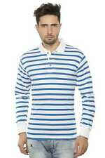 Clifton Mens Small Stripes Full Sleeve Collar Polo T-Shirt-Royal Blue