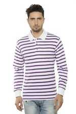 Clifton Mens Small Stripes Full Sleeve Collar Polo T-Shirt-Purple