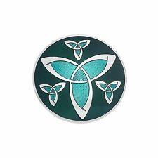 Sea Gems Enamels Celtic Trinity Knots Rounded Large Brooch - 7597