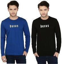 Pack of 2 Buxus Men's Cotton Full Sleeve T-Shirts