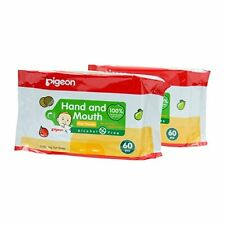 Baby Wipes,pigeon Baby Wipes Hand and Mouth Size 60 Sheets X 2 Packs