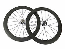 20.5mm 60mm Clincher Track Bicycle Wheelset Track Fixed Gear Carbon TubularWheel