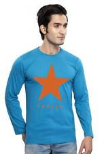 Clifton Men's Star Printed Full Sleeve R-Neck T-Shirts - Turquiose-Orange Star