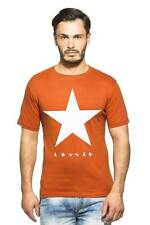 Clifton Men's Star Printed T-Shirts Half Sleeve R-Neck - Rust-White Star