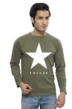 Clifton Men's Star Printed Full Sleeve R-Neck T-Shirts - Olive-White Star