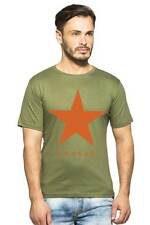 Clifton Men's Star Printed T-Shirts Half Sleeve R-Neck - Olive-Orange Star
