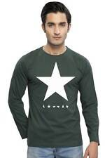 Clifton Men's Star Printed Full Sleeve R-Neck T-Shirts - Bottle Green-White Star