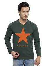 Clifton Men's Star Printed V-Neck T-Shirts - Bottle Green-Orange Star