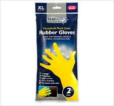 Household Flock Lined Rubber Gloves with Extra Grip - Strong & Flexible - Latex