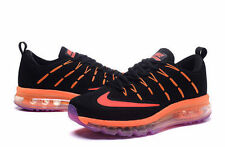 New Nike AIR MAX+ 2016 Men's Running Shoes Black with Blue/ Orange Flywire