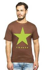 Clifton Mens Star Printed T-Shirts H/S R-Neck-Brown-Green Star