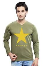 Clifton Mens Star Printed T-Shirts F/S V-Neck-Olive-Yellow Star