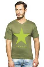 Clifton Mens Star Printed T-Shirts H/S V-Neck-Olive-Green Star