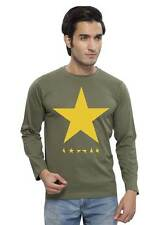 Clifton Mens Star Printed T-Shirts F/S R-Neck-Olive-Yellow Star
